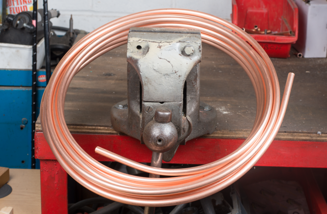 Coiled copper microbore tube.